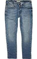 River Island Mid Wash Ethan Skinny Tapered Jeans - Lyst