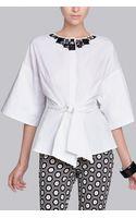 Natori Cotton Shirting Jeweled Top - Lyst