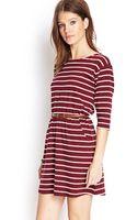 Forever 21 Stripe Print Belted Dress - Lyst