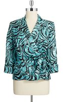 Alex Evenings Printed Sidetie Blouse - Lyst