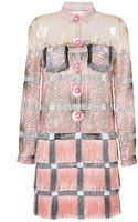 Marco De Vincenzo Silk and Fringe Cady Dress in Pink - Lyst