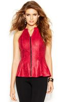 Guess Sleeveless Zipfront Embossed Peplum Top - Lyst