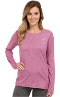 New Balance Heathered Long-sleeve Top - Lyst