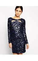 Little Mistress Sequin Shift Dress with Cut Out Detail - Lyst