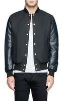 Sacai Leather Sleeve Cotton Bomber Jacket - Lyst