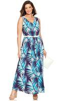 Anne Klein Plus Size Tropicalprint Maxi Dress - Lyst