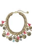 Betsey Johnson Cameo Critters Coin Tassel Necklace - Lyst