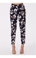 Missguided Dorothie Floral Print Cigarette Trousers Navy - Lyst