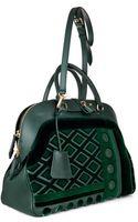 Burberry Prorsum Milverton Velvet and Leather Bowling Bag - Lyst