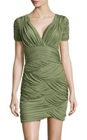 Halston Heritage Scallop-ruched Sheath Dress - Lyst