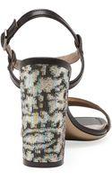 Lanvin Metallic Jacquard Sandal - Lyst