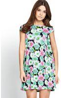 Glamorous Printed Short Sleeve Swing Dress - Lyst