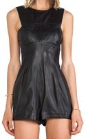 Shakuhachi Leather Playsuit - Lyst
