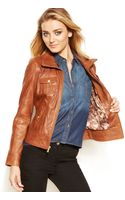 Guess Leather Motorcycle Jacket - Lyst