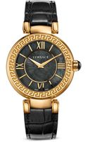 Versace Leda Stainless Steel and Black Mother-of-pearl Dial Watch 38mm - Lyst