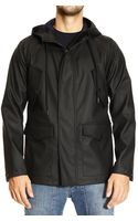 Mauro Grifoni Down Jacket Rubberized Short Parka with Hood - Lyst