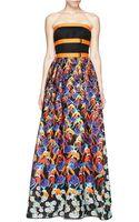 Peter Pilotto Freya Strapless Floral Print Maxi Dress - Lyst