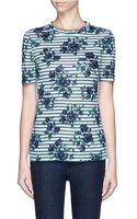 Tory Burch Kara Floral Stripe Linen T-Shirt - Lyst
