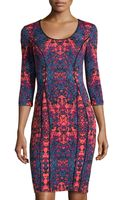Donna Morgan Printed Scuba 34-sleeve Dress - Lyst