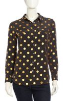McQ by Alexander McQueen Longsleeve Spotted Silk Blouse Black - Lyst