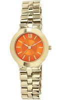 Anne Klein Ladies Goldtone Bracelet Watch with Tangerine Dial - Lyst