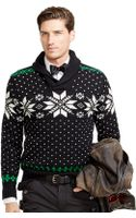 Polo Ralph Lauren Snowflake Shawl-collar Sweater - Lyst