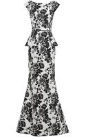 Oscar de la Renta Jacquard Fishtail Silk Gown - Lyst