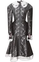 Thom Browne Paneled Cross Dress with Crochet Mink Trim - Lyst