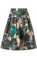 Oscar de la Renta Parrotembroidered Forestprint Skirt - Lyst