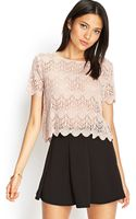 Forever 21 Ornate Crochet Lace Top - Lyst