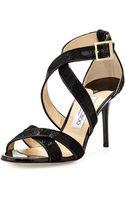 Jimmy Choo Louise Glitter Crisscross Sandal - Lyst
