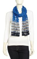 Missoni Striped Crochet Knit Scarf Blue - Lyst