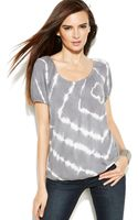 Inc International Concepts Shortsleeve Tiedye Peasant Top - Lyst