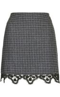 Topshop Tweed Lace Hem Mini Skirt - Lyst