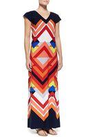 Melissa Masse Printed Cap-sleeve Maxi Dress - Lyst