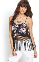 Forever 21 Fringed Floral Cami - Lyst
