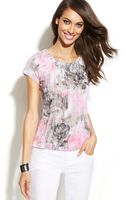 Inc International Concepts Petite Embellished Printed Top - Lyst