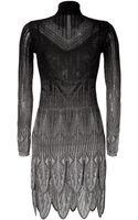 Roberto Cavalli Metallic Knit Petal Hem Dress - Lyst