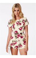 Missguided Serapia Rose Print Playsuit - Lyst