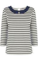Oasis Chambray Collar Stripe Three Quarter Sleeve Top - Lyst