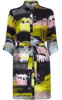 River Island Pink Print Shirt Dress - Lyst