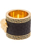 Versace Ssense Exclusive Gold Leather Trim Medusa Ring - Lyst