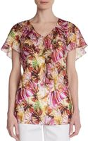 Lafayette 148 New York Angelline Printed Silk Top - Lyst