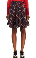 Thom Browne Red and Navy Knit Plaid Flared_front Skirt - Lyst