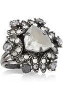 Lanvin Iconic Gunmetaltone Crystal Ring - Lyst