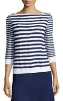 St. John Striped Cableknit Sweater - Lyst