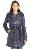Via Spiga Navy Quilted Asymmetrical Zip Belted Coat - Lyst