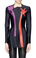 Acne Studios Exit Flower Leather Appliqué Scuba Jacket - Lyst