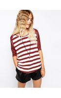 Mink Pink Slick Stripes Raglan T-shirt with Pu Sleeves - Lyst