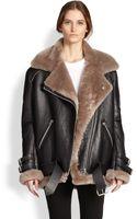 Acne Studios Oversized Leather Lamb Shearling Motorcycle Jacket - Lyst